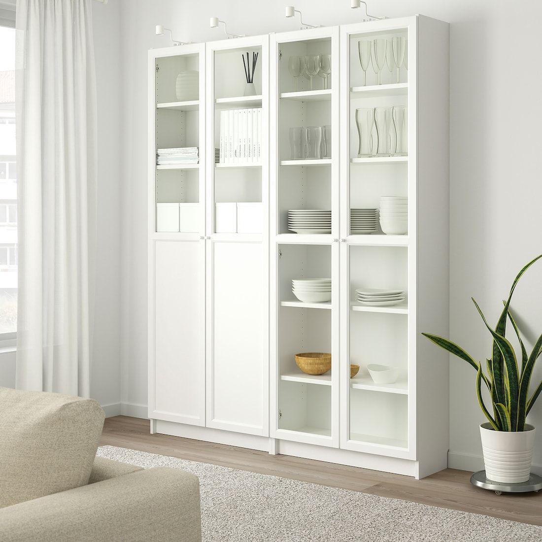 Billy Oxberg Bookcase With Panel Glass Doors White Glass 63x11 3 4x79 1 2 Decoracao De Casa Decoracao Da Sala Decoracao Casa Pequena