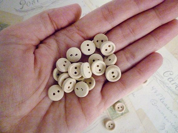 Wood Buttons SMALL  Pack of 10 by heartsupplies on Etsy, $1.50