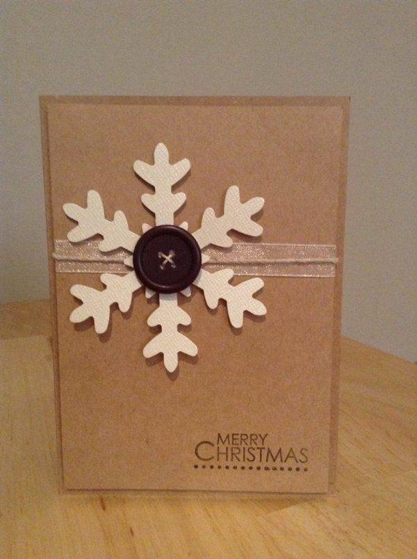 Weihnachtskarten Selber Basteln Schneeflöckchen Knopf