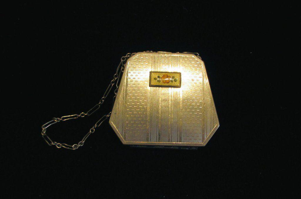 1920s Silver Guilloche Compact Art Deco Powder Mirror Purse