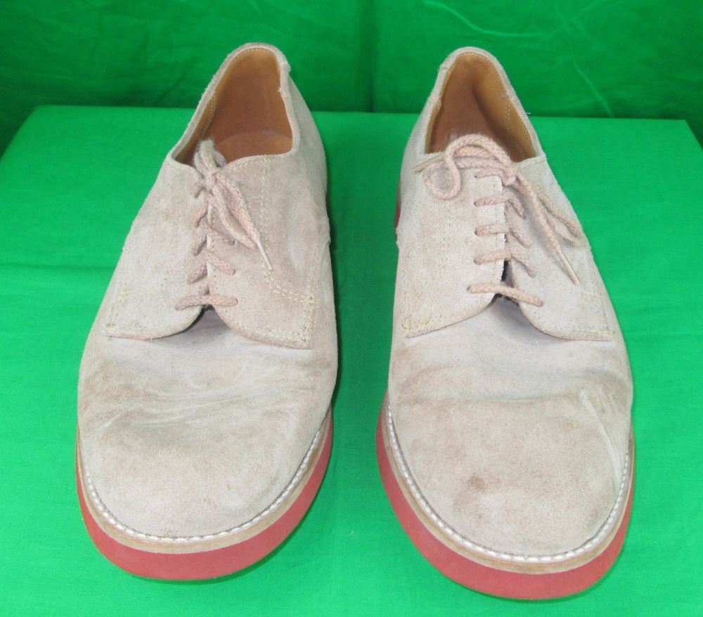 Village Creek Tan Suede Oxford Shoe Size 12M Made in USA Red Crepe Soles #VillageCreek #CasualShoes