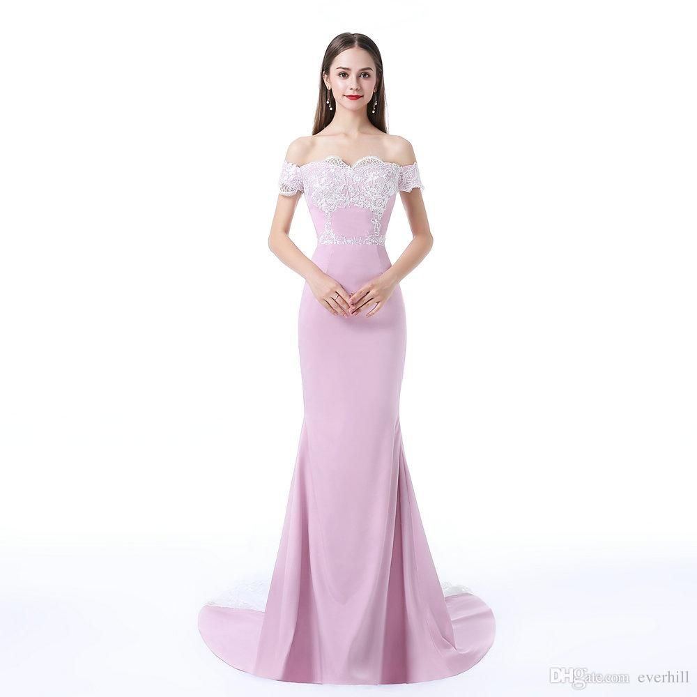 Women s Mermaid Long Dresses Evening Party Lace Satin Floor Length  Sweetheart Off Shoulder Evening Dresses Formal 0ed00aac7588