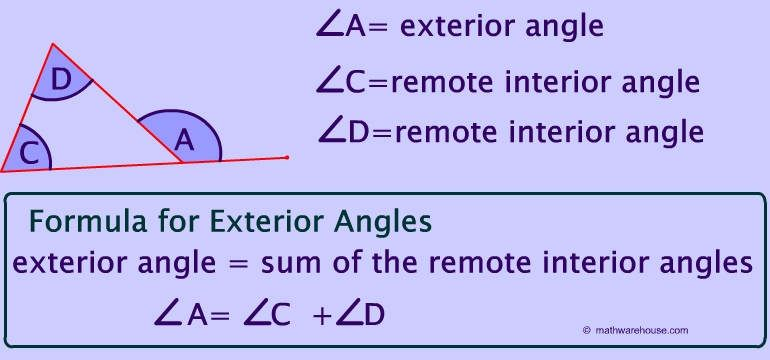 remote exterior and interior angles of a triangle teaching math