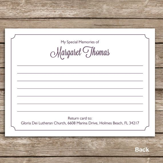 Hand Drawn Bridge Share a Memory Card, Attendance Card, Funeral - funeral invitation templates
