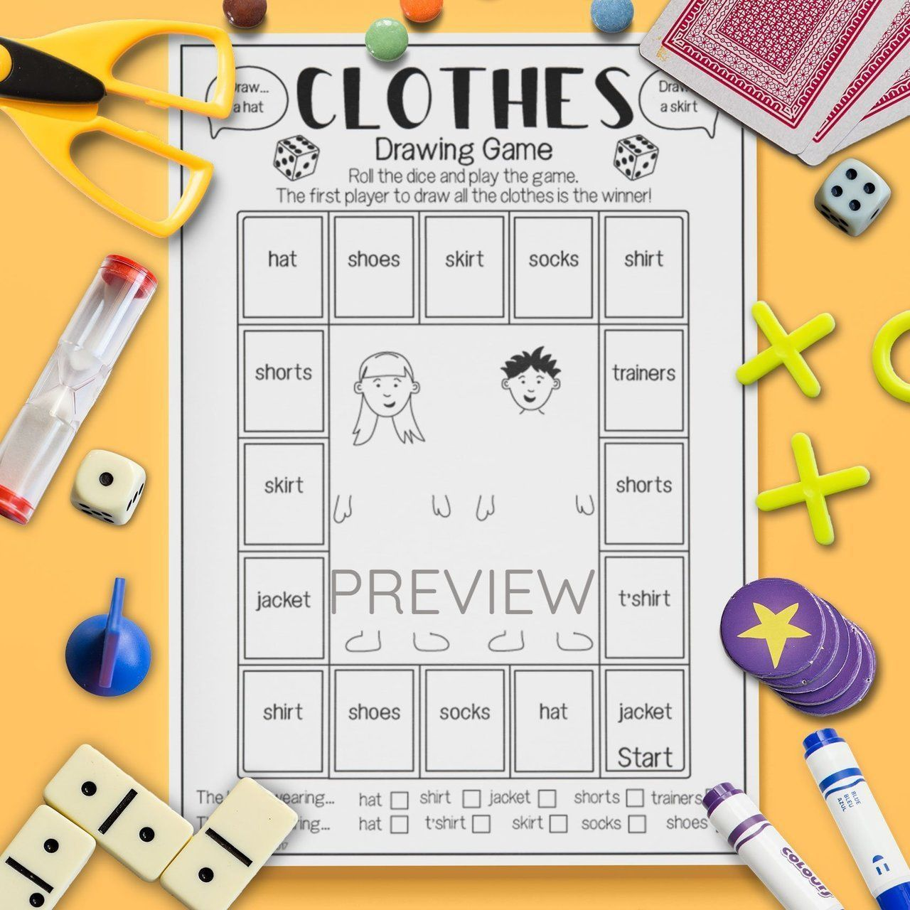 Clothes Drawing Game English Esl Kids Clothes Drawing