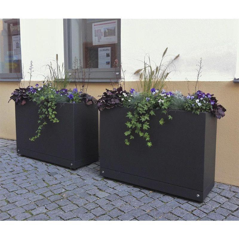 Gartensilber Aluminium Quader hoch Pflanzkübel
