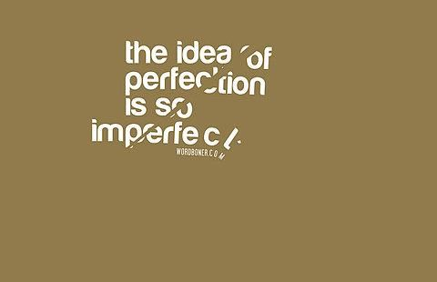 the idea of perfection is so imperfect