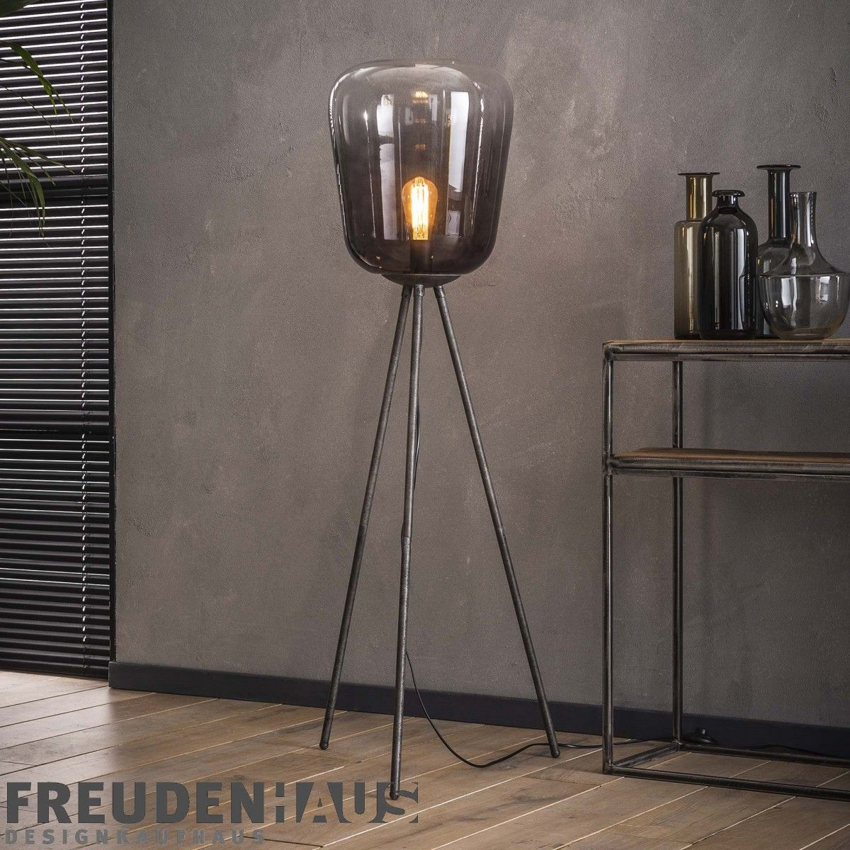 Stehlampe Shaded Bulb Industrial Getontes Rauchglas In 2019