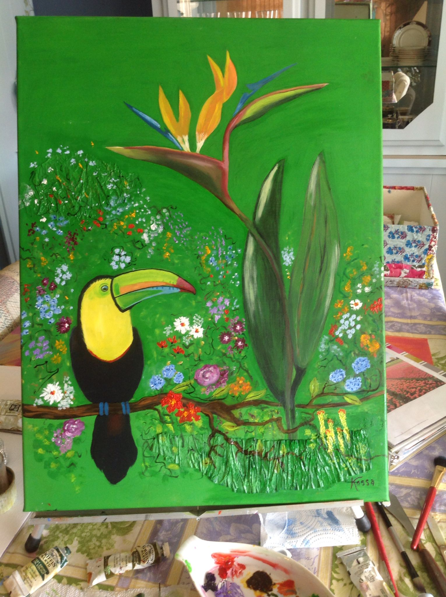 """The """"Call of the Toucan"""" by Joyce Sundheim oil on wood panel"""