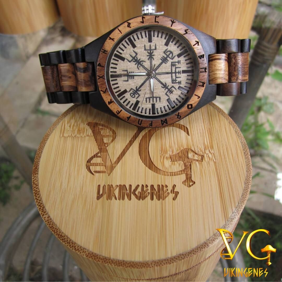 Vegvisir Handmade Engraved Wooden Watch Wooden Watch Wooden Watches For Men Vikings Gifts