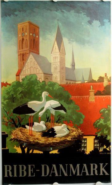 Domkirken Kan Ses Fra Lange Afstande Rundt Om Ribe Vintage Plakater Rejseplakater Og Illustration