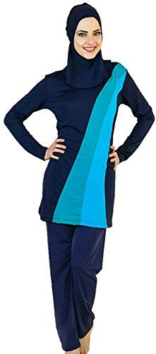 6b166d83ea YEESAM Muslim Swimwear for Women Girls Modest Islamic Hijab Swimsuit Asia  2XL Ref US Size 1012 Blue 2 -- Click image for more details.