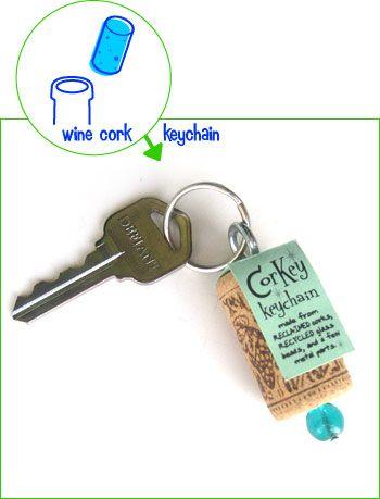 WIne cork key chain.