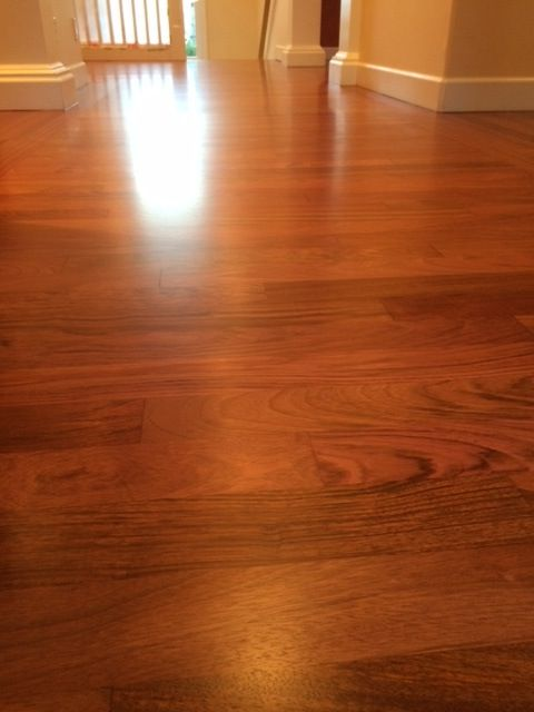 A Flat Jatoba (Brazilian Cherry) Wood Floor.
