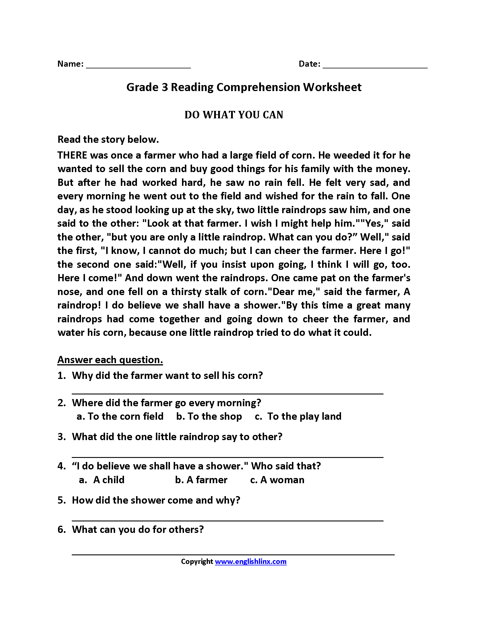 Do What You Can Third Grade Reading Worksheets