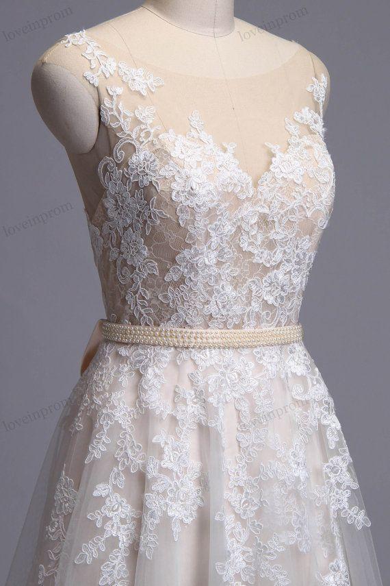 Vintage Lace Wedding Dress Handmade Sheer Mesh Tulle by loveinprom ...