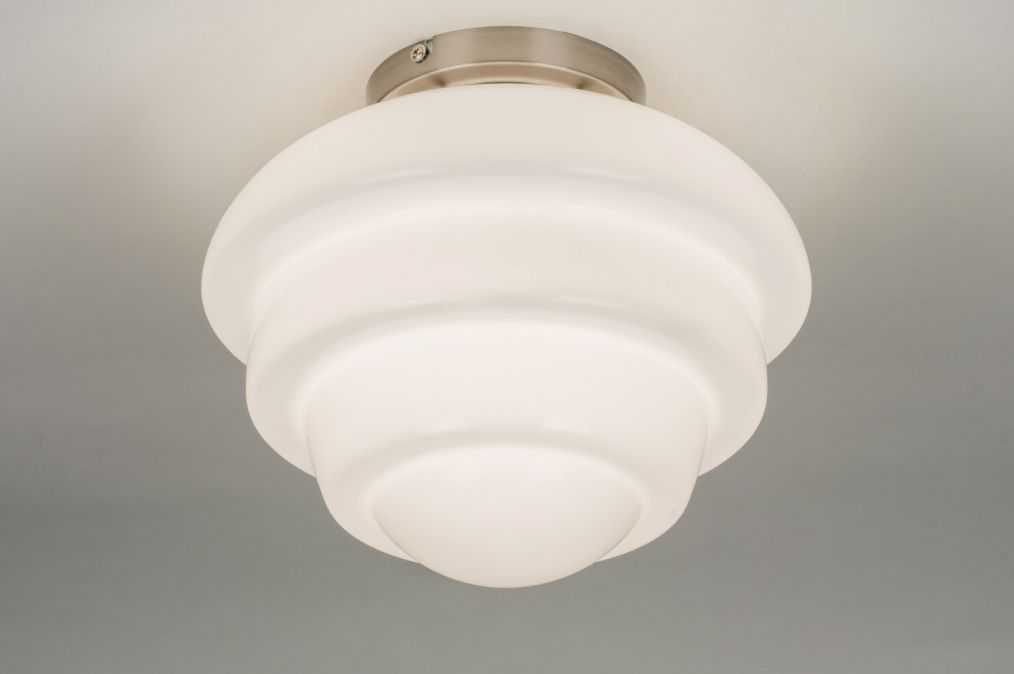 Plafondlamp klassiek retro glas wit opaalglas
