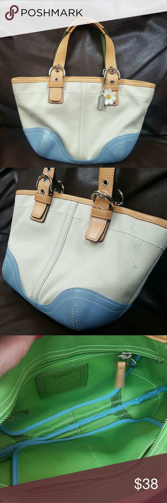 """Authentic Coach Daisy Handbag *Adorable* Excellent used condition authentic Coach bag! Minor marks shown in second photo, overall condition is fantastic! Handbag, cannot go over the shoulder.   Measurements: Length - 10"""" Height - 6.5"""" Depth - 1.5"""" Strap Drop - 5"""" Bags Totes"""