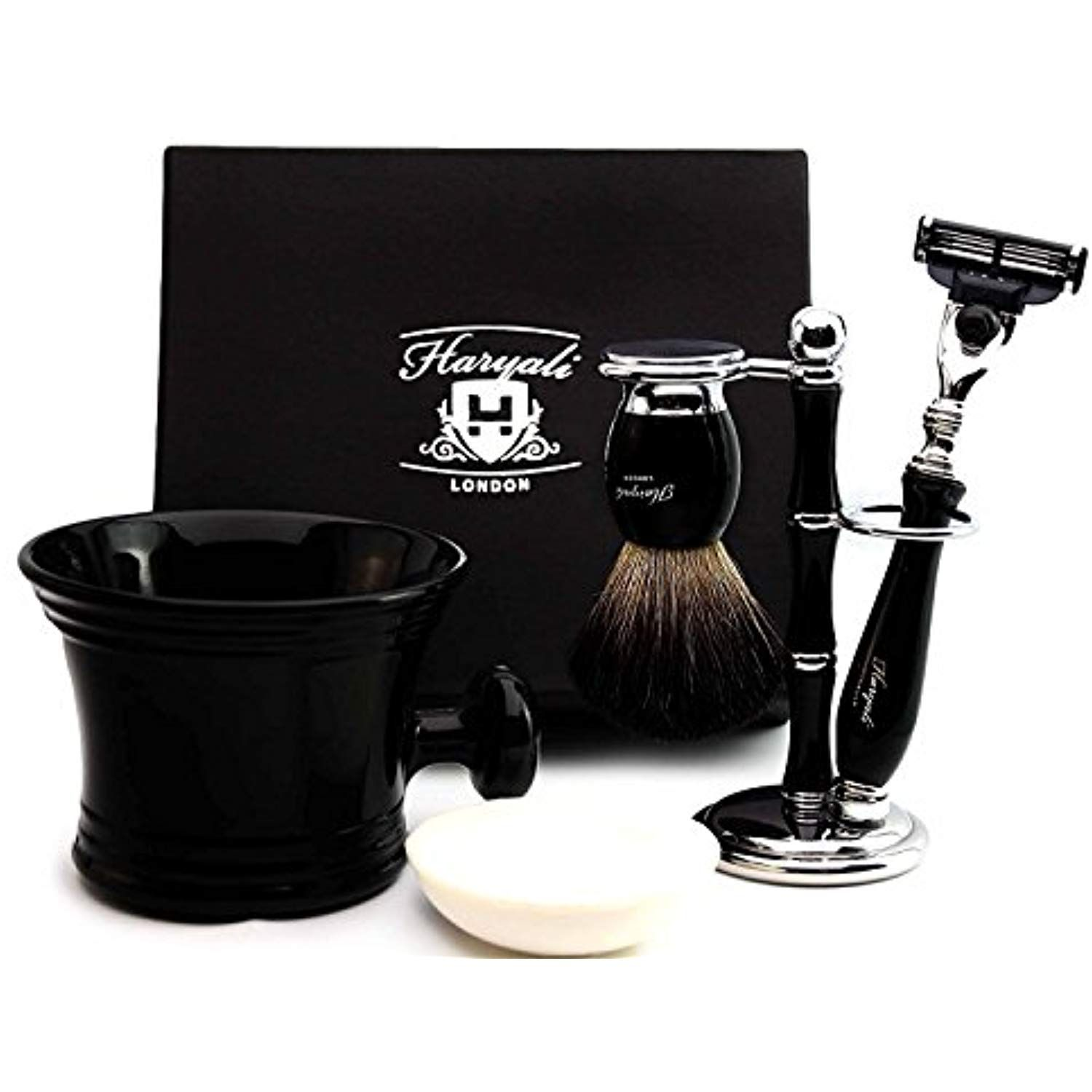 Pure Badger Hair Shaving Set In Black.The Set Contains