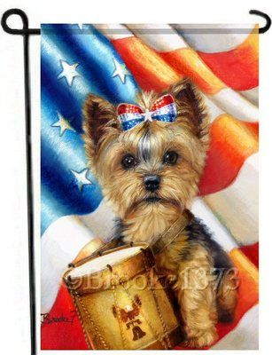 Superbe Yorkie Painting Garden Flag Dog Art 4th Of July Independence Yorkshire  Terrier | EBay