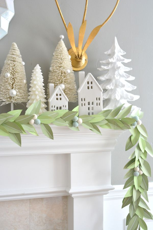 Diy Paper Leaf Garland Centsational Style Diy Christmas Garland Paper Christmas Decorations Diy Christmas Paper