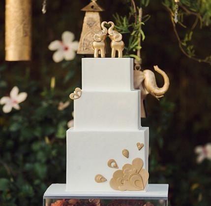 Indian Elephant Wedding Cake Topper Set Tall Elegant Style