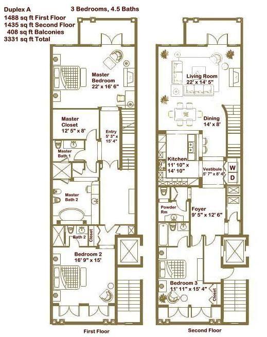3 Bedrooms Duplex Floor Plan Ground Floor And Upper Floor