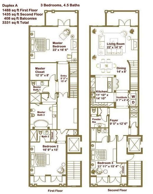 Master bathroom duplex townhouse floor plans google for Luxury townhome plans