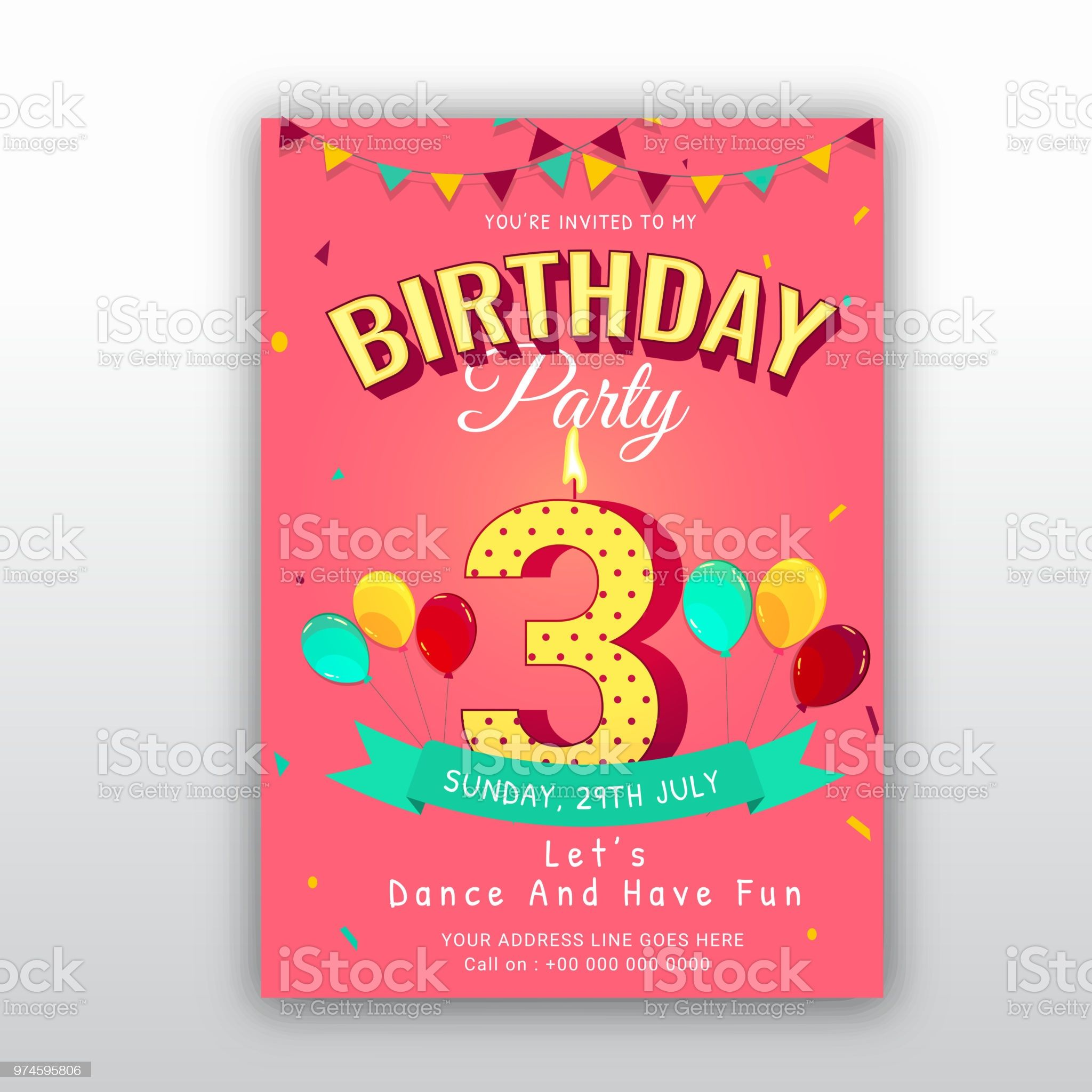 birthday card invitation template with number 3 3rd birthday invitation design birthday birthday card gif printable birthday invitations