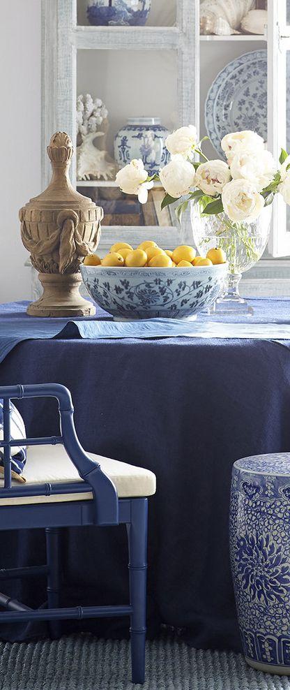 Coastal Decor | Burlap Tablecloth In Blue