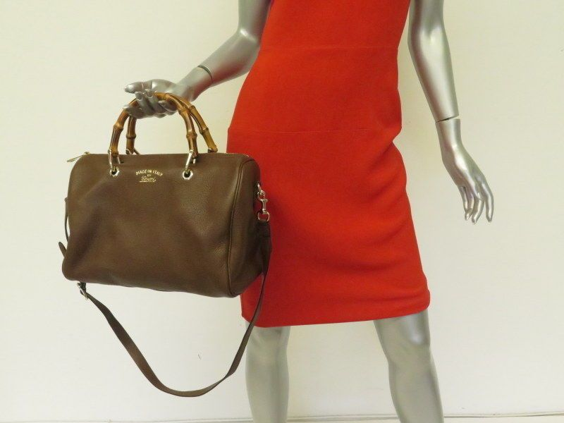 22688ab10f7 Gucci Bamboo Shopper Boston Bag Brown Pebbled Leather Medium Shoulder Bag   Gucci  Satchel