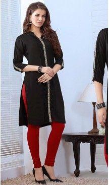 4aee5709fd0 Black Color Cotton Straight Style Readymade Kurtis