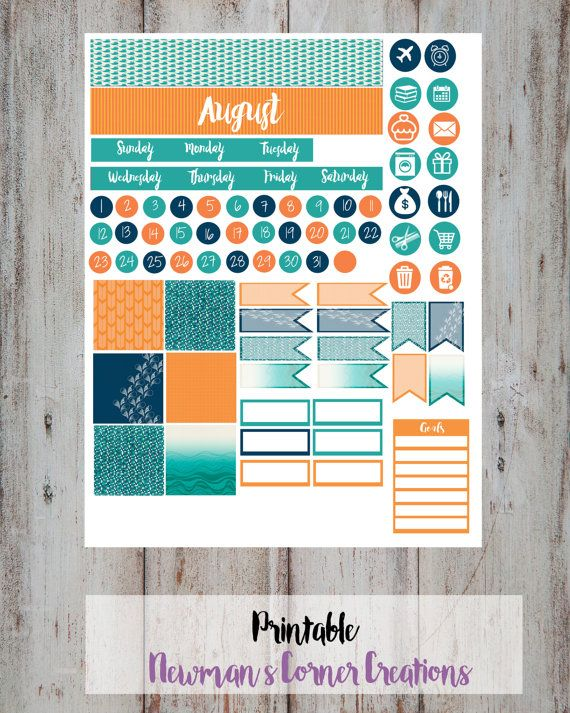 Monthly Planner Sticker Kit August Fits by NewmansCornerCreatio