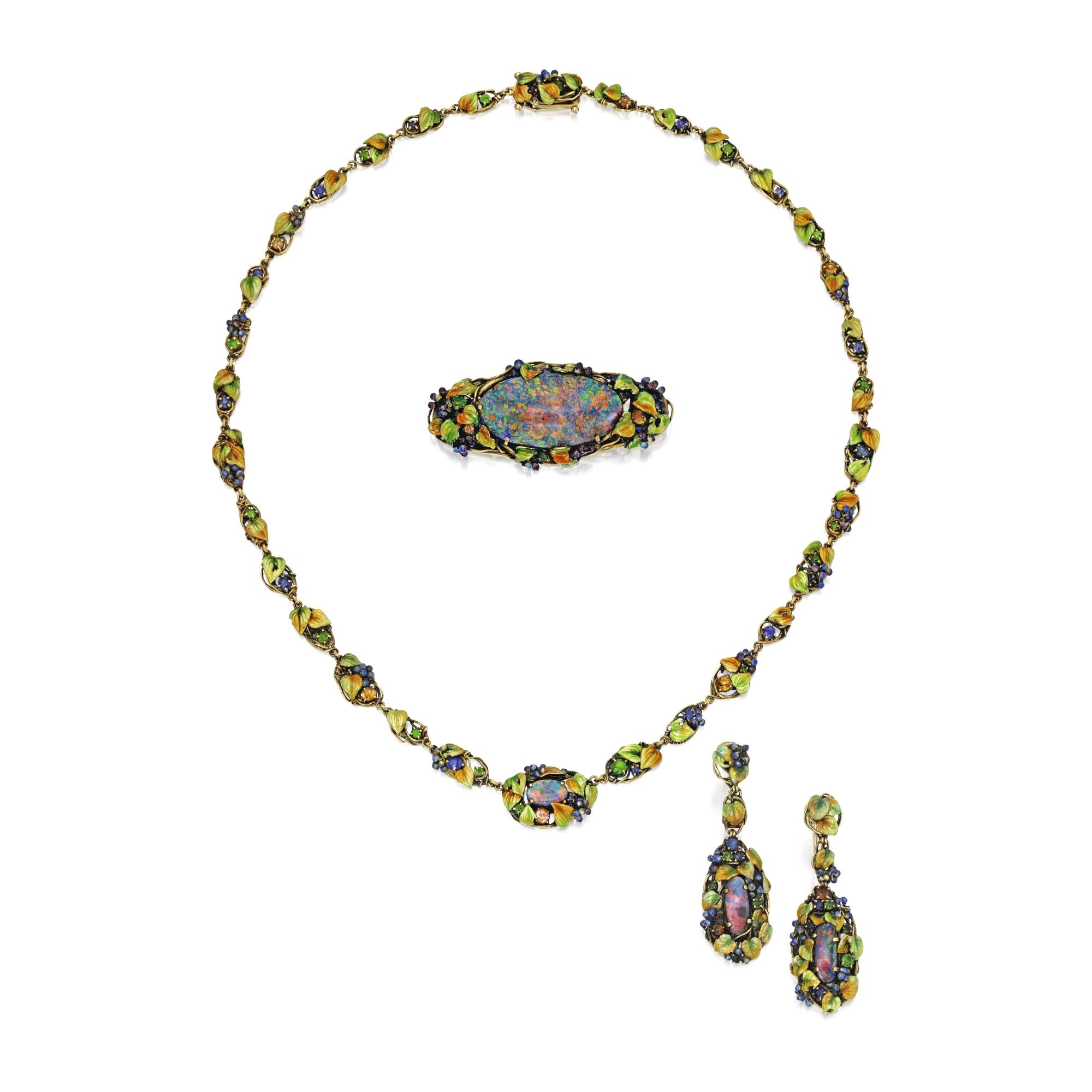 Group of Gold, Black Opal, Enamel and Colored Stone Jewelry, Tiffany & Co., Designed by Louis Comfort Tiffany  Comprising a necklace, brooch and pair of pendant-earrings decorated with grape clusters and leaves applied with multi-colored translucent enamel, accented by small round green garnets sapphires and citrines, each piece set with a cabochon opal, the reverse of the pendant-earrings highlighted with additional enameled leaves, necklace length 17 inches