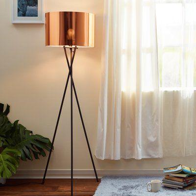 Versanora Cara 62 2 Tripod Floor Lamp Shade Color Copper Livingroomlamps Floor Lamp Shades Copper Floor Lamp Floor Lamps Living Room
