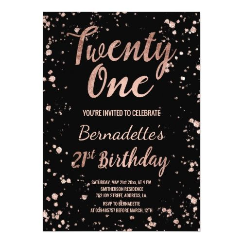 Faux rose gold confetti splatters 21st Birthday Card Gold confetti