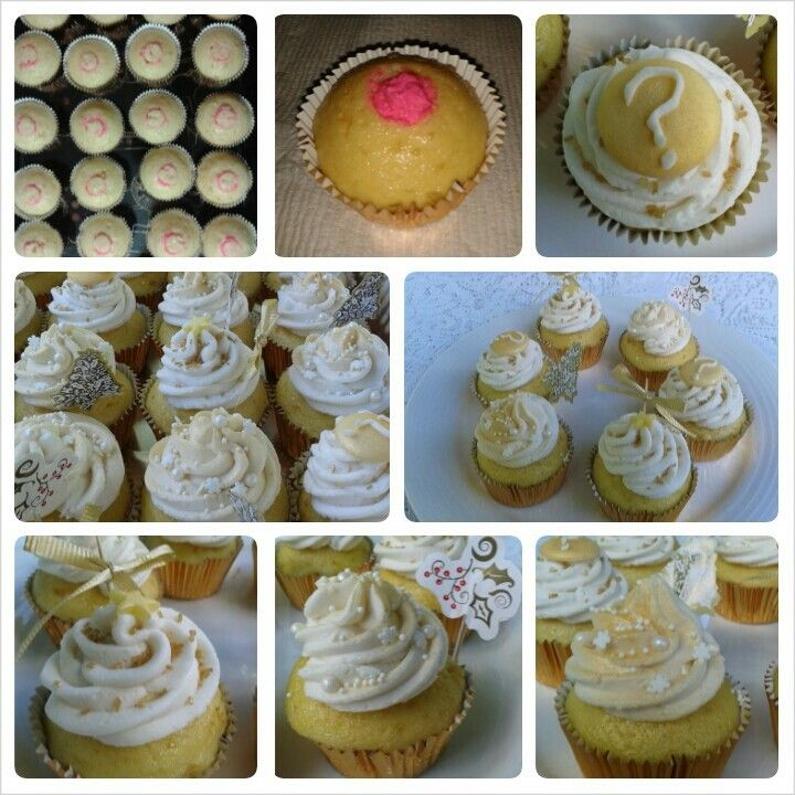 Clubhouse Cupcakes Christmas Gender Reveal Gold And White Baby