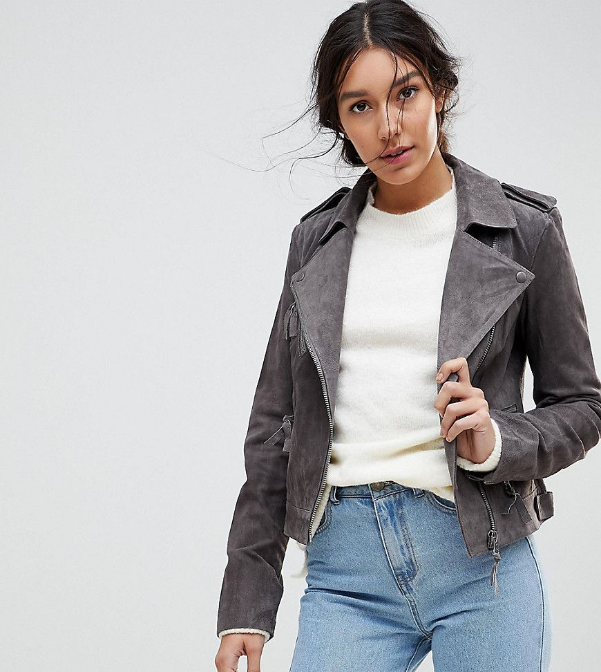 ASOS TALL Suede Biker Jacket Gray (With images) Suede