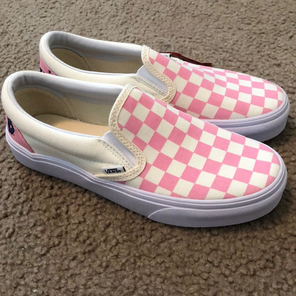 Customized Pink Checkered Vans  9ac185ad1