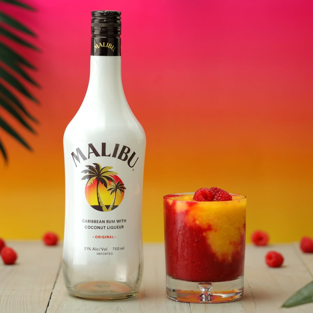 Cool Off With This Sunrise That S As Colorful As It Is Tasty Maliburumus Maliburum Paidpartnership Raspberry Drink Alcohol Drink Recipes Rum Drinks