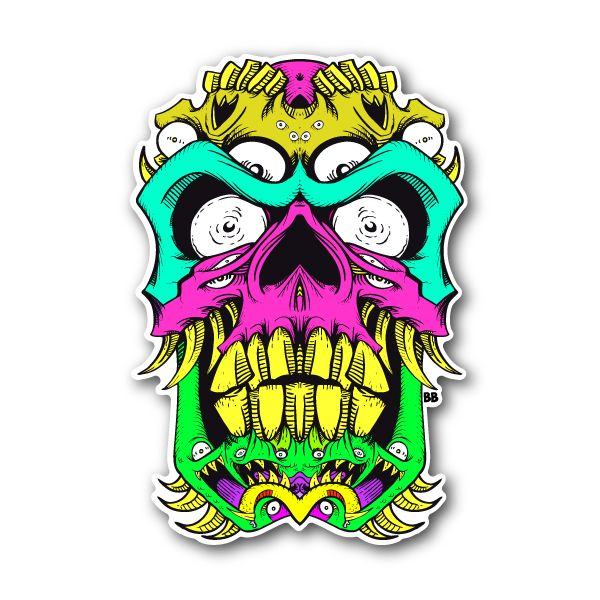 Scary skull sticker 001 vinyl stickers marijuana stickers clear stickers