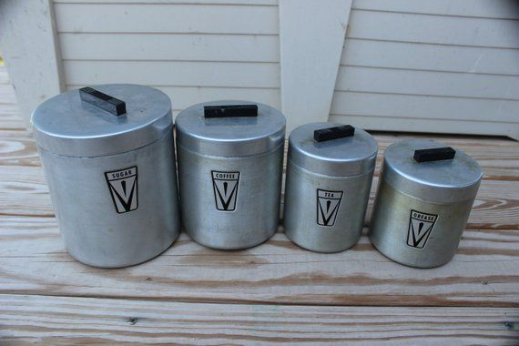 kitchen canister set 1940 s 4 piece aluminum with matching lids rh pinterest com