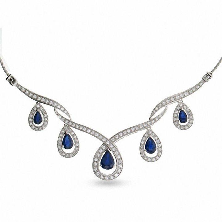 Zales 7 8 Ct T W Round Diamond And Blue Sapphire