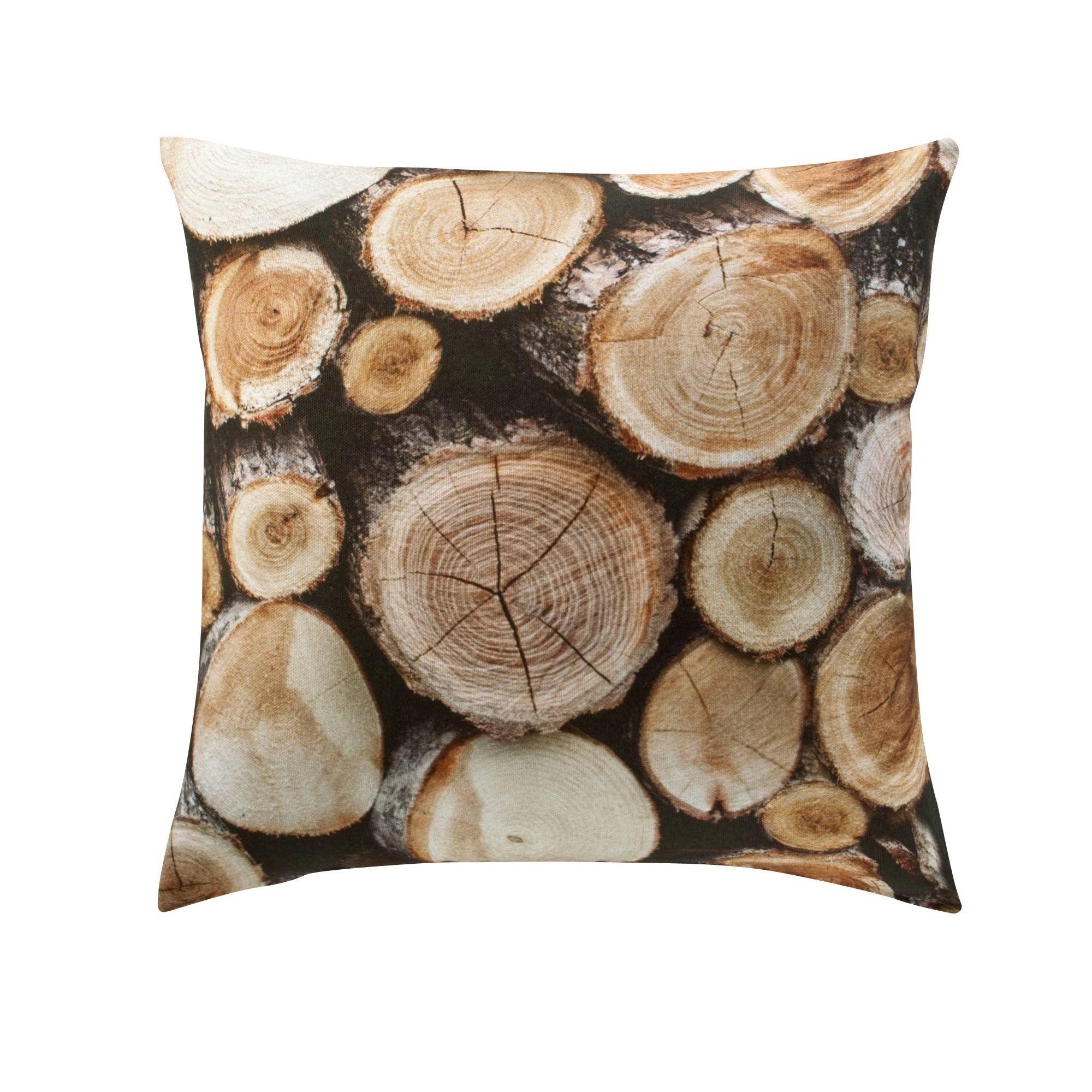 Housse de coussin coton imprimé Rondins bois. Pour une ambiance