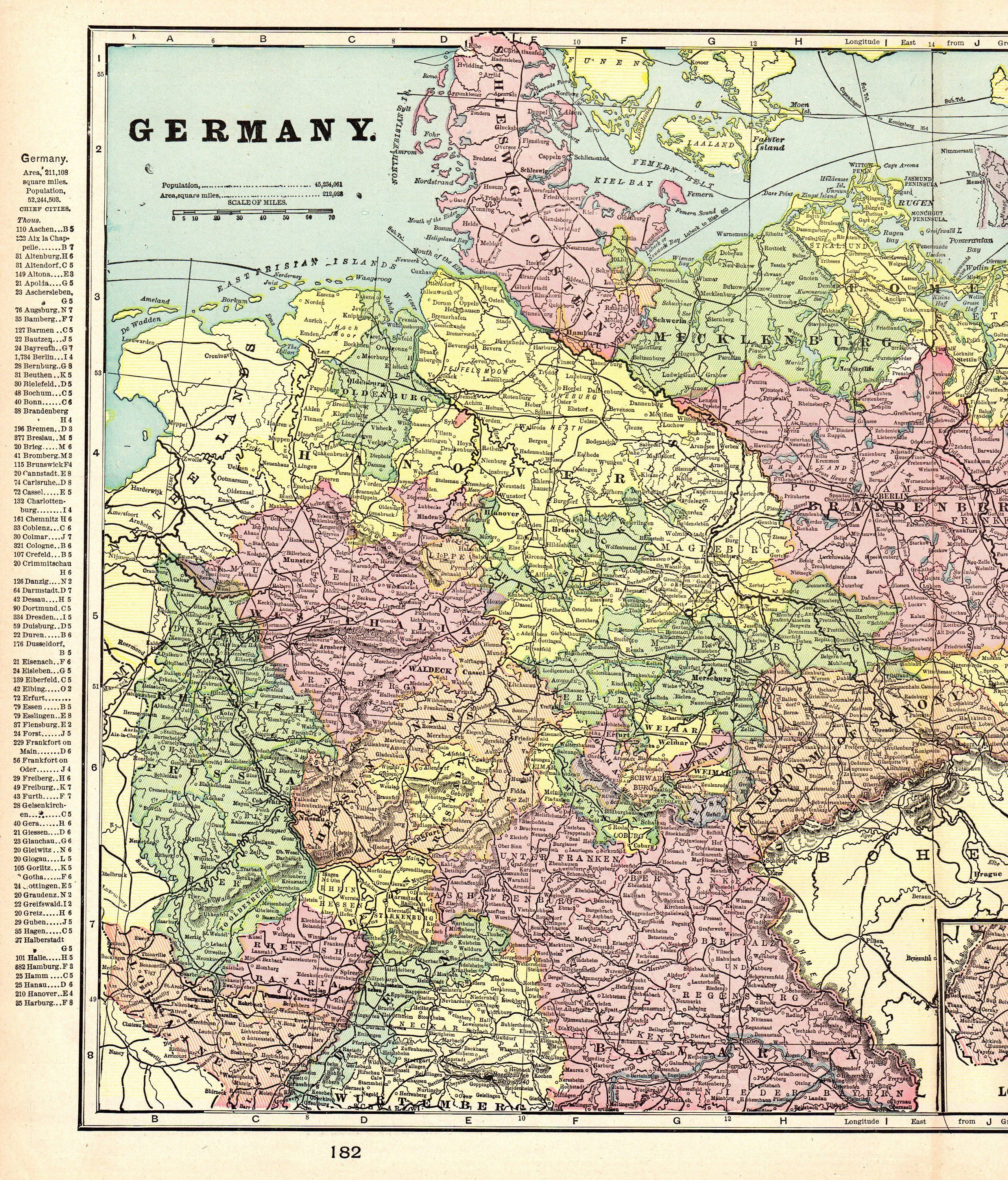 Map Of Germany 1900.1901 Antique Germany Map Vintage Map Of Germany Gallery Wall