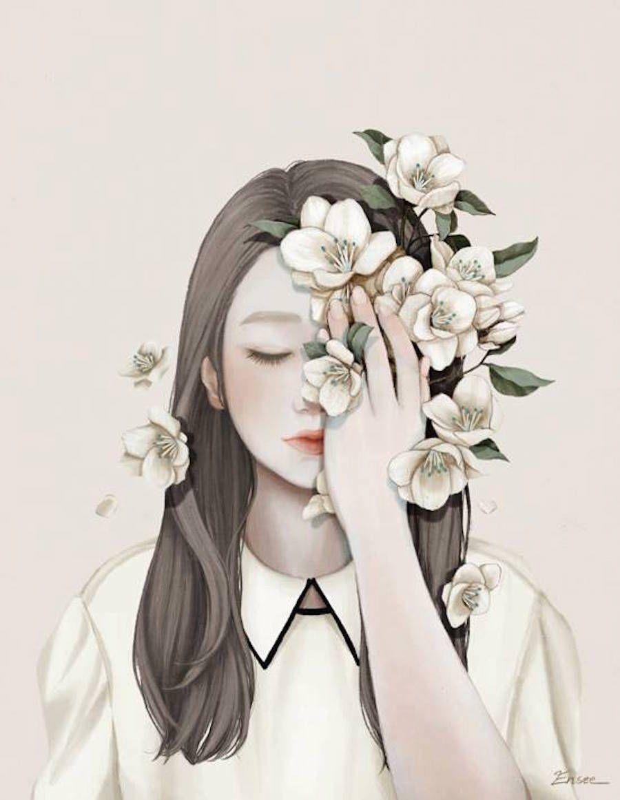 Sweet and Delicate Korean Artworks | Art girl, Illustration art ...