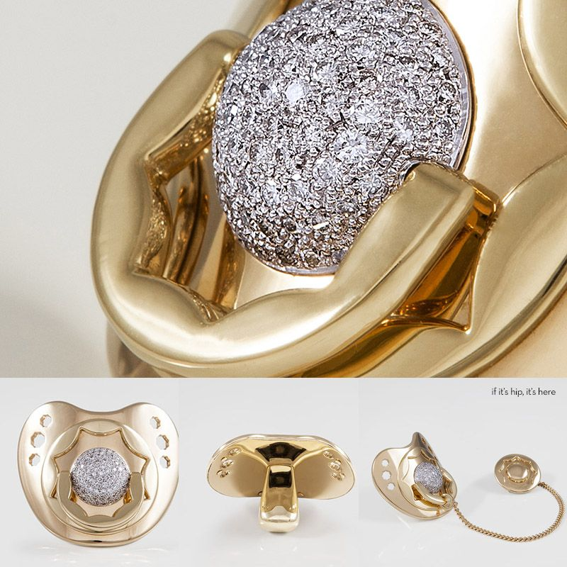 72573e967b2881 Dodo Dummy pacifier is made with solid 18k gold and encrusted with diamonds.
