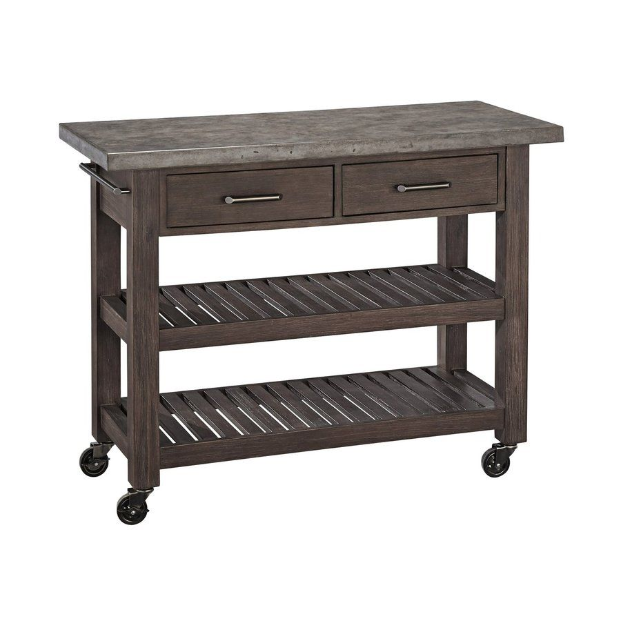 Home Styles Concrete Chic Brown Gray Acacia Outdoor Serving Cart Lowes Com Kitchen Cart Decor Indoor Outdoor Kitchen Outdoor Serving Cart
