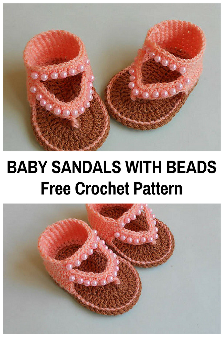 Adorable Crochet Baby Sandals With Beads [Free Pattern | Crochet ...