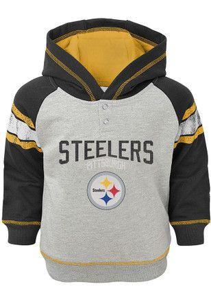 6962458c095 Pittsburgh Steelers Toddler Grey Classic Stripe Hooded Sweatshirt ...